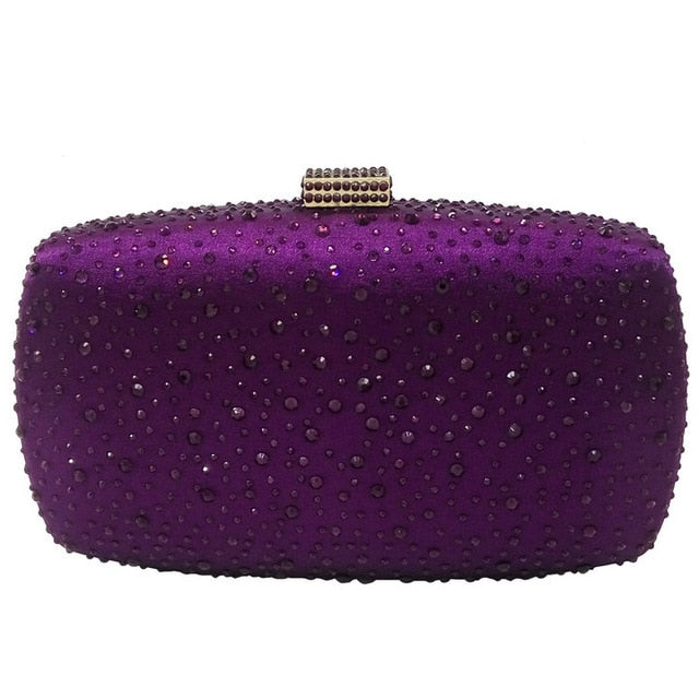 Boutique De FGG Hot Pink Fuchsia Crystal Diamond Women Evening Purse Minaudiere Clutch Bag Bridal Wedding Clutches Chain Handbag - Smoulder Products