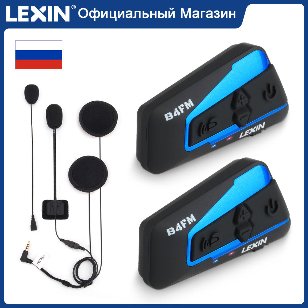 Lexin Motorcycle Bluetooth Helmet Headset Intercom 4 Riders 1600M  Wireless BT Intercomunicador Moto B4FM Intercomunicadores de casco - Smoulder Products