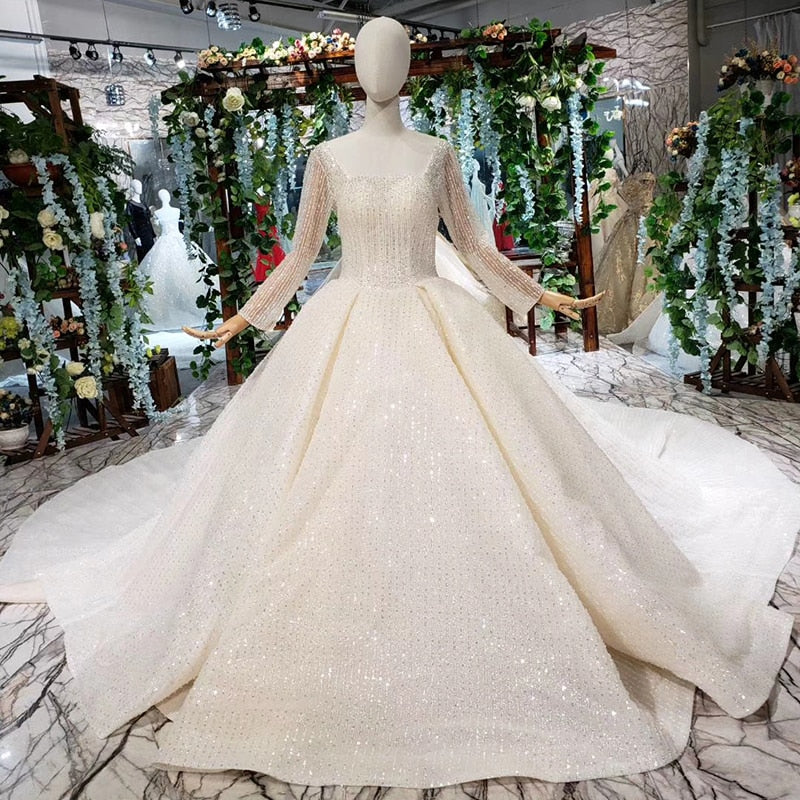 BGW HT4217 New Wedding Dress Like White Square Neck Button Back Long Tulle Sleeves Bridal Gown With Wedding Veil Illusion Back - Smoulder Products
