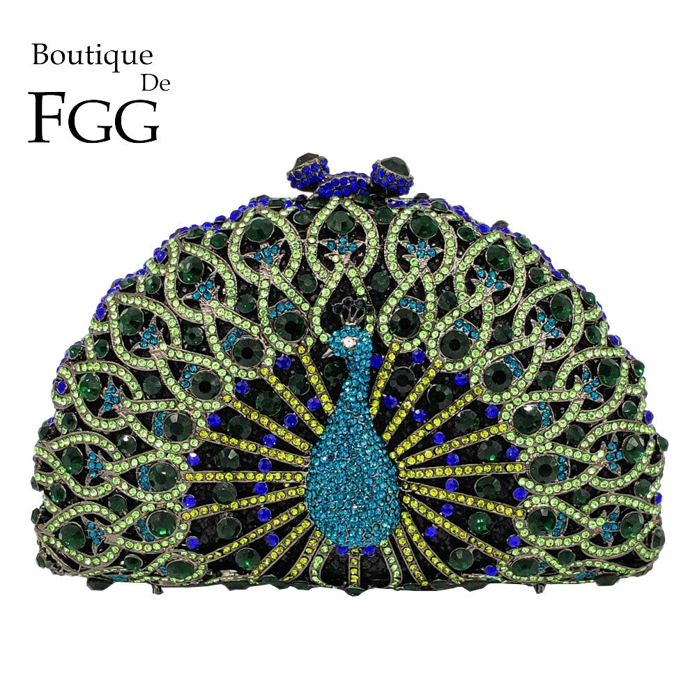 Boutique De FGG Green Crystal Women Peacock Clutch Evening Bag Party Minaudiere Handbag Wedding Clutches Bridal Diamond Purse - Smoulder Products