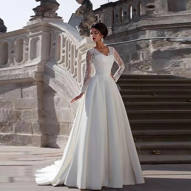 2020 New V Neck Wedding Dresses Long Sleeve Luxury Wedding Gown Lace Top Satin Bridal Dress Vintage Robe de Mariage Plus Size - Smoulder Products