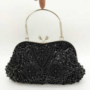 Boutique De FGG Elegant Frame Women Formal Beaded Evening Purses and Handbags Bridal Sequins Clutch Bag Cocktail Party Bag - Smoulder Products