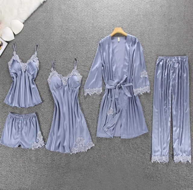 Women Pajamas 5/4/2/1 Pieces Satin Sleepwear Pijama Silk Home Wear Home Clothing Embroidery Sleep Lounge Pyjama with Chest Pads - Smoulder Products