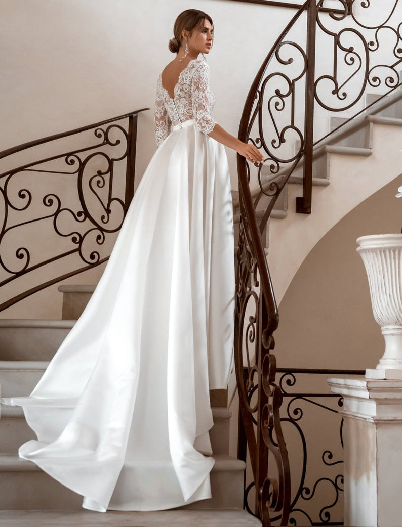 A-line Satin Wedding Dresses V-neck 3/4 Sleeve Lace Boho Bridal Gown Vintage Party Dress Sweep Train Plus Size - Smoulder Products