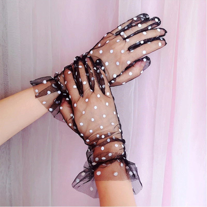 Women's Sexy Guantes Transparentes Dot Print Black White Mesh Tulle Gloves Female Club Prom Party Dancing Dress Glove - Smoulder Products