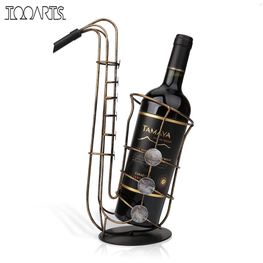 Tooarts Metal Sax Wine Rack Modern Crafts Artwork Gift Wine Holder Figurine Creative Wine Bottle Stand Home Decoration Accessory - Smoulder Products
