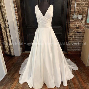 Custom Made Satin Wedding Dresses 2019 A Line V Neck White Ivory Lace Up Back Wedding Bridal Gowns Vestido De Noiva Chapel Train - Smoulder Products