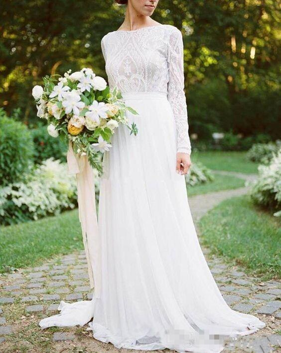 LORIE Bohemian Country Long Sleeves Wedding Dresses Boho 2019 O-neck A Line Lace Appliqued Chiffon Beach Bridal Gowns Cheap - Smoulder Products