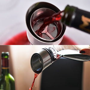 Wine Decanter Crystal 100% Hand Blown Wine Carafe for Red Wines Brilliant Decanter with Stainless Steel Aerator - Smoulder Products
