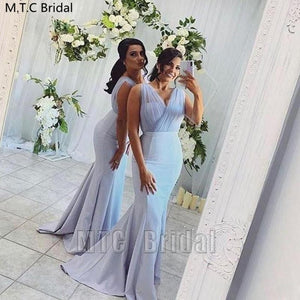 Mint Blue Mermaid Long Bridesmaid Dresses V Neck Pleat Tulle Elegant Maid Of Honor Wedding Party Dress Plus Size Prom Gowns - Smoulder Products