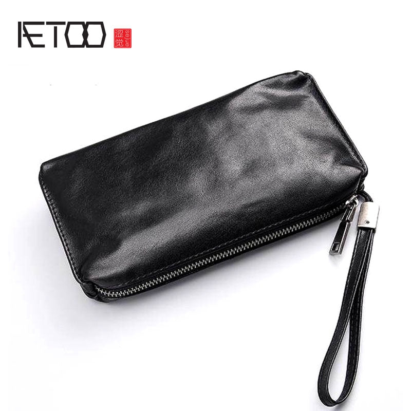 AETOO Hand bag men's soft leather retro casual long wallet men's first layer leather mobile phone bag - Smoulder Products