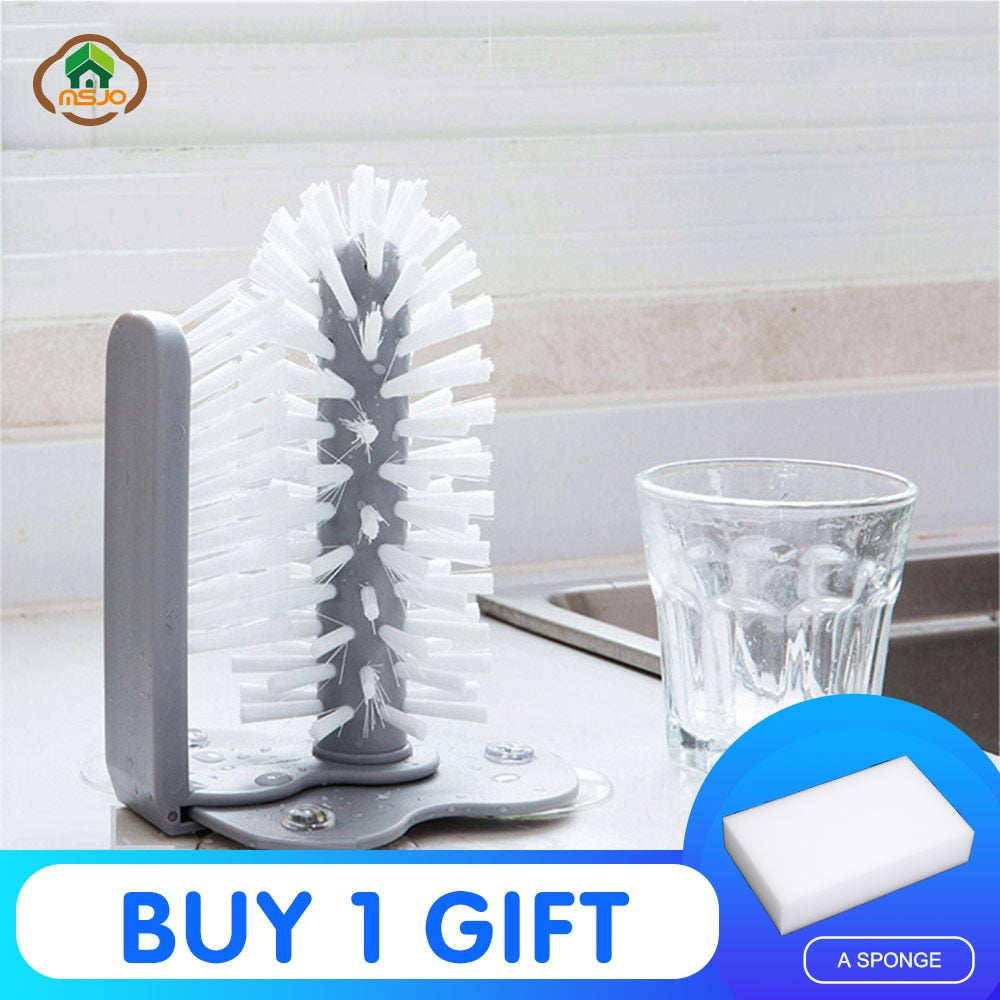 MSJO  Cleaning Brush Cup Bottles Sink Kitchen Accessories Water Scrubber Wine Suction Cleaning Cup Brush Drop Ship Glass Cleaner - Smoulder Products