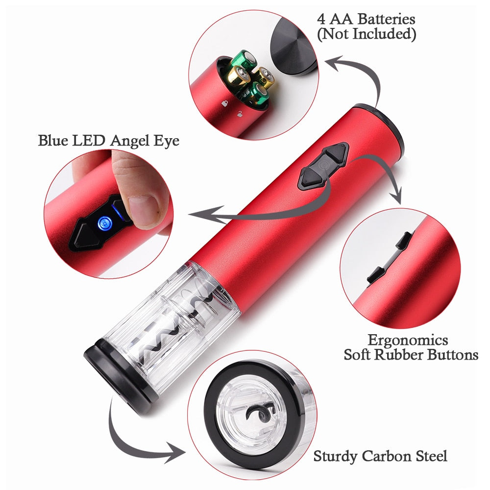 Electric Wine Opener, Cordless Electrical Wine Bottle Opener, Automatic Corkscrew (Battery) with Vacuum Stoppers Foil Cutter - Smoulder Products