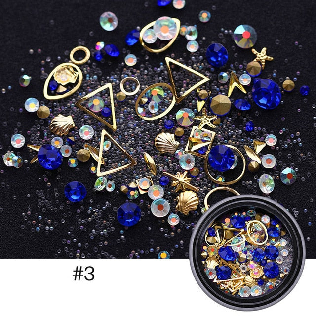 1000Pcs/bag 3D Nail Art Rhinestone Mix Sizes AB Colors Flat Bottom Chameleon Nail Studs DIY Nail Decorations for Nails - Smoulder Products