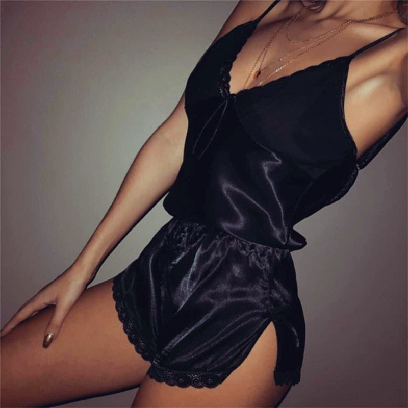 Women Sexy Lingerie set Lace Crop Top shorts pajamas set Sleepwear Satin pijama Nightwear pyjama femme Night suit - Smoulder Products