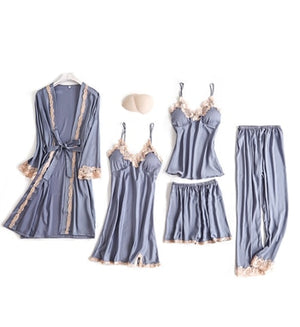 JULY'S SONG 5 Pieces Pajamas Set Sexy Lace Satin Silk Sleepwear Women Summer Spring Fashion Pajamas for Women Robe Sleep Lounge - Smoulder Products