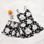 FallSweet Summer  Print Pajama Sets for Women Cotton  Sleepwear  Girls Sleeveless Sexy Lingerie Two Piece Set - Smoulder Products