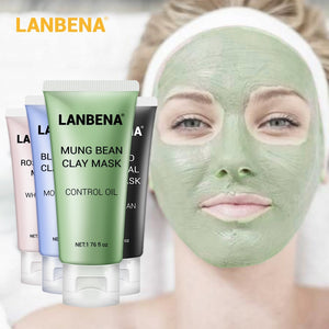 LANBENA Face Mask Mung Bean Clay Oil Control Deep Cleaning Blackhead Remover Purifying Shrinks Pores Nourishing Acne Treatment - Smoulder Products