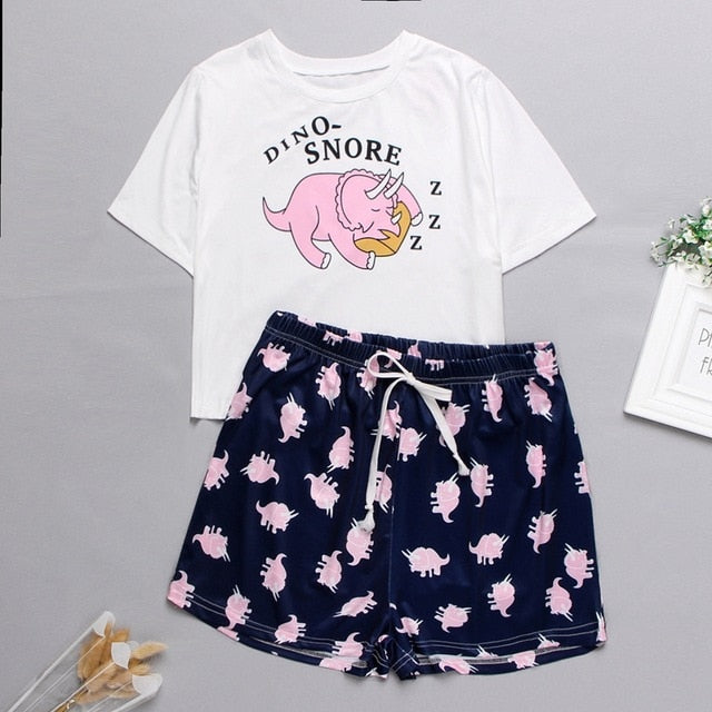 Women's Sleepwear Cute Cartoon Print Short Set Pajamas for Women  Pajama Set Sweet Short Sleeve T Shirts & Shorts Summer Pijama - Smoulder Products