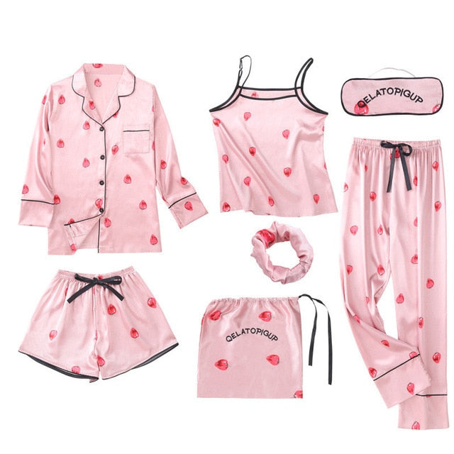 JULY'S SONG Pink Women's 7 Pieces Pajamas Sets Emulation Silk Striped Pyjama Women Sleepwear Sets Spring Summer Autumn Homewear - Smoulder Products