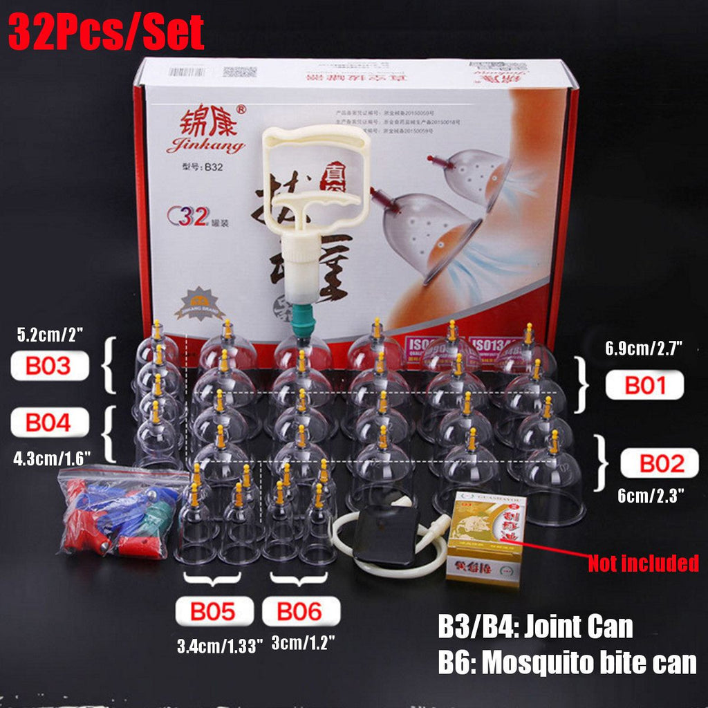 24/32 Cans Cups Vacuum Kit Pull Out Vacuum Apparatus Therapy Relax Massagers Curve Suction Pumps - Smoulder Products