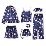 JULY'S SONG  7 Pieces Pajamas Sets Women's Faux Silk Love Printed Pyjama Women Sleepwear Set Short Spring Summer Autumn Homewear - Smoulder Products