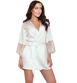 Women Sexy Lace Lingerie dressing gown Nightwear bridesmaid robes Underwear satin robe bathrobe Sleepwear vintage peignoir femme - Smoulder Products