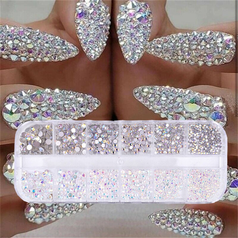 12 boxes / set of AB crystal rhinestone diamond gem 3D glitter nail art decoration beauty - Smoulder Products