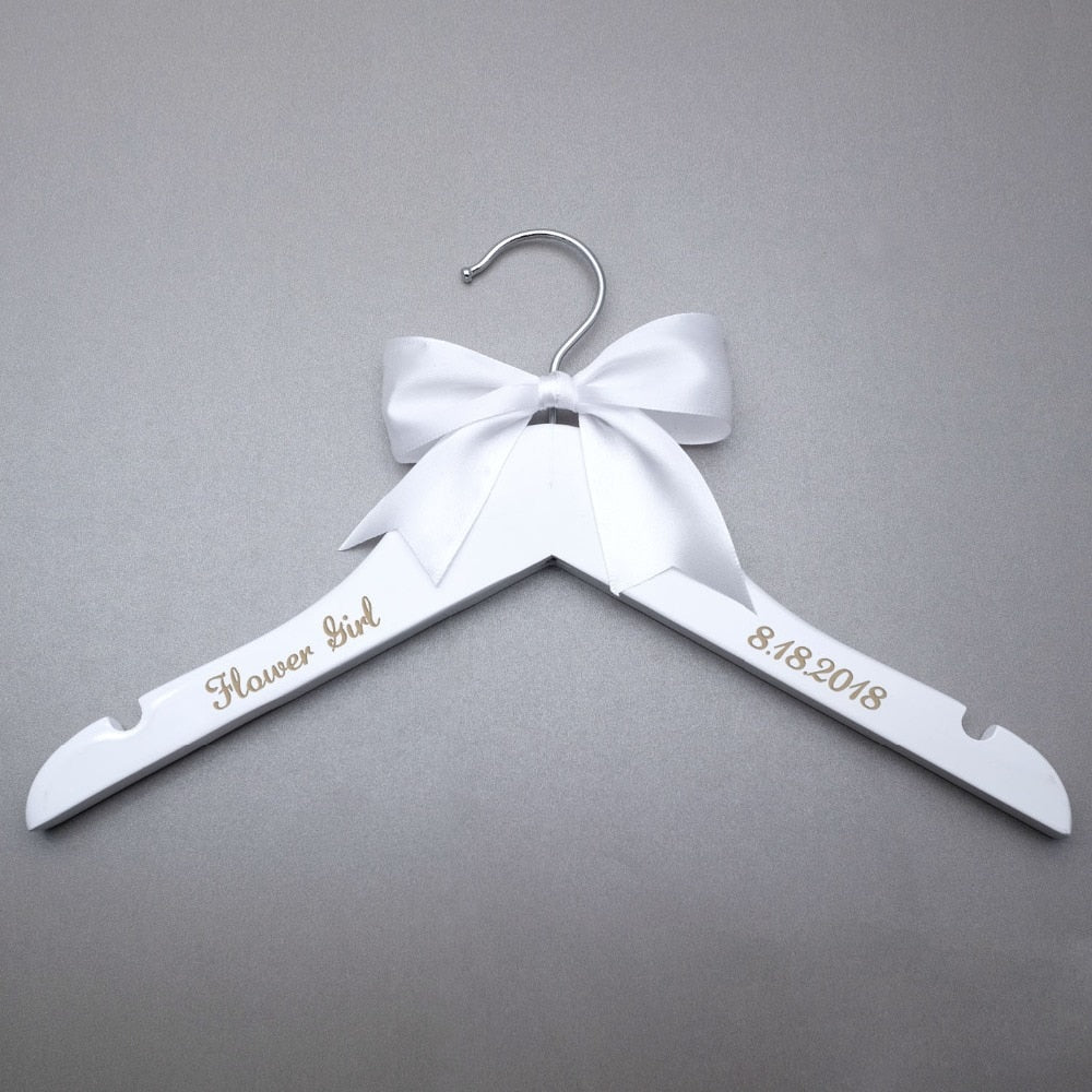Personalized bride bridesmaid groom wedding hanger with date, custom bridal dress hanger, custom name hanger with bow - Smoulder Products