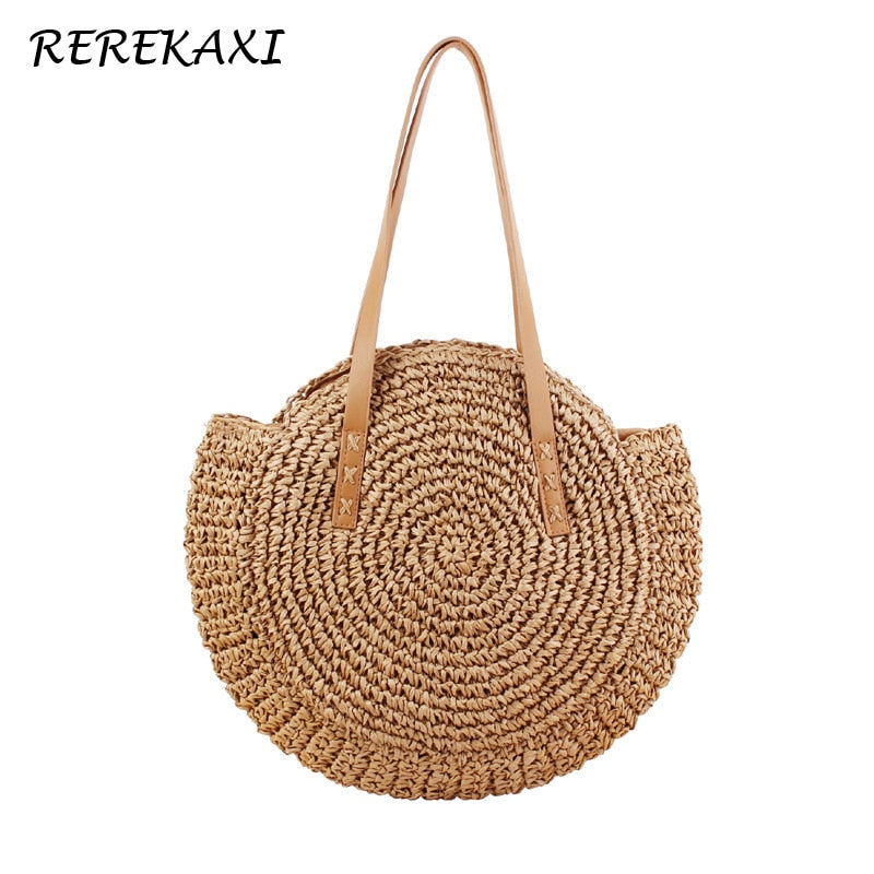 REREKAXI Hand-woven Round Woman's Shoulder Bag Handbag Bohemian Summer Straw Beach Bag Travel Shopping Female Tote Wicker Bags - Smoulder Products