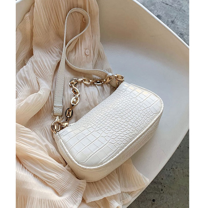 Fashion Crocodile Pattern Baguette bags MINI PU Leather Shoulder Bags For Women 2020 Chain Design Luxury Hand Bag Female Travel - Smoulder Products