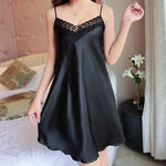 Sexy Nightdress Deep V Lace Sleepwear Women Lingerie Silk Satin nightie Nightgown Sleeveless Sling Nightwear Home Dress #D - Smoulder Products