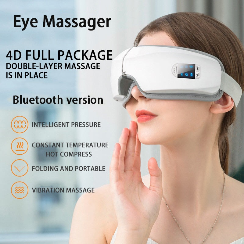 4D Smart Airbag Vibration Eye Massager Eye Care Instrument Hot Compress Bluetooth Eye Fatigue Massage Glasses - Smoulder Products