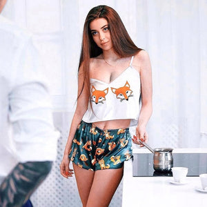 Ladies Pajama Set Love Fox Print Cute Cartoon Pattern Sleepwear Silk V Neck Sexy Pijama Satin Night Suits Wear Spaghetti Strap - Smoulder Products