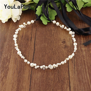 YouLaPan Silver Golden Crystal Bridal Belts Handmade Wedding Thin Belts Pearl Wedding Sash Belt Wedding Dress Accessories SH03 - Smoulder Products