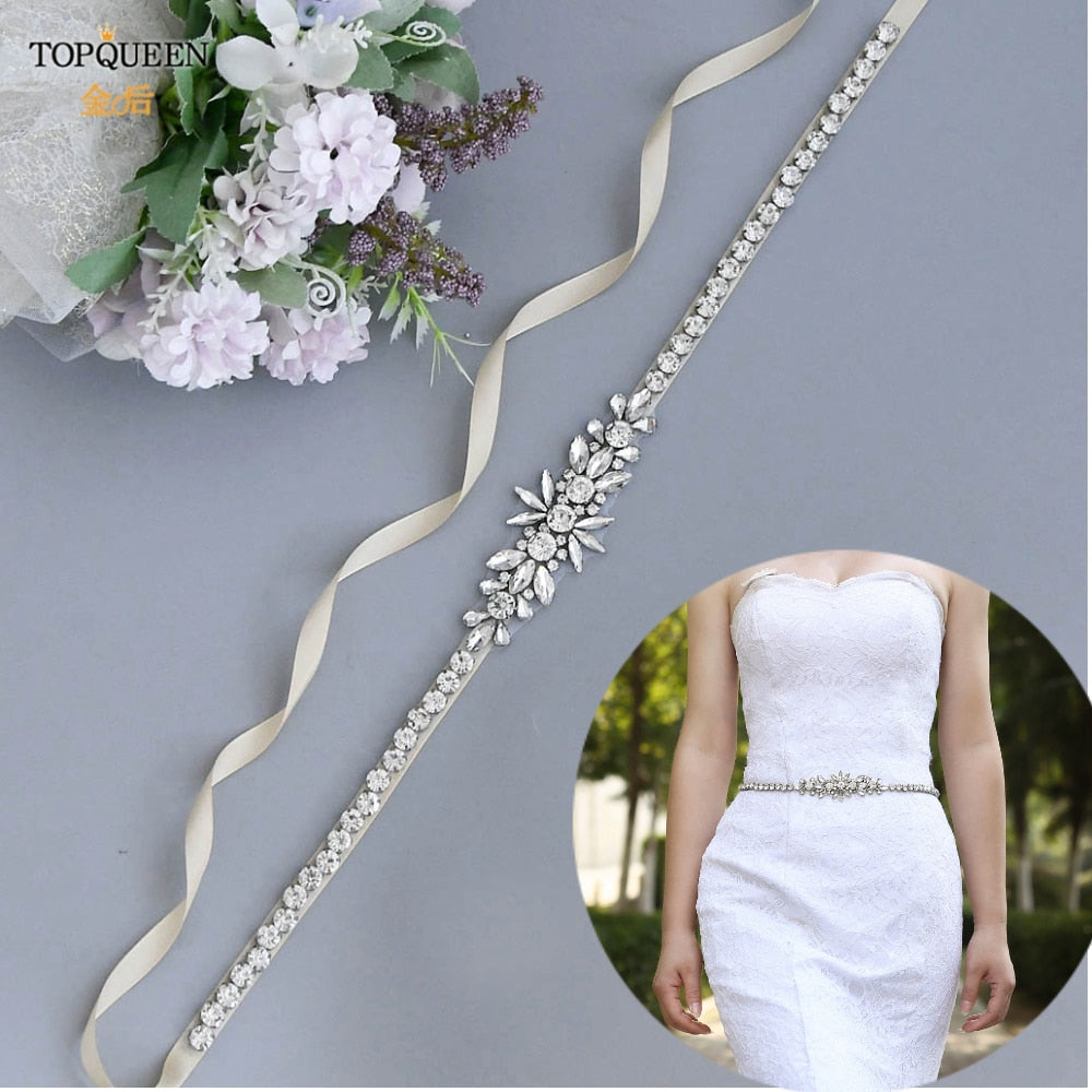TOPQUEEN S166 Women's Rhinestone Belt Silver Diamond Bridal Belt for Wedding Gown Wedding Belt for Bridal Bridesmaid Dresses - Smoulder Products