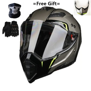 Mate black Dual Sport Off Road Motorcycle helmet Dirt Bike ATV D.O.T certified (M, Blue) full face casco for moto sport - Smoulder Products