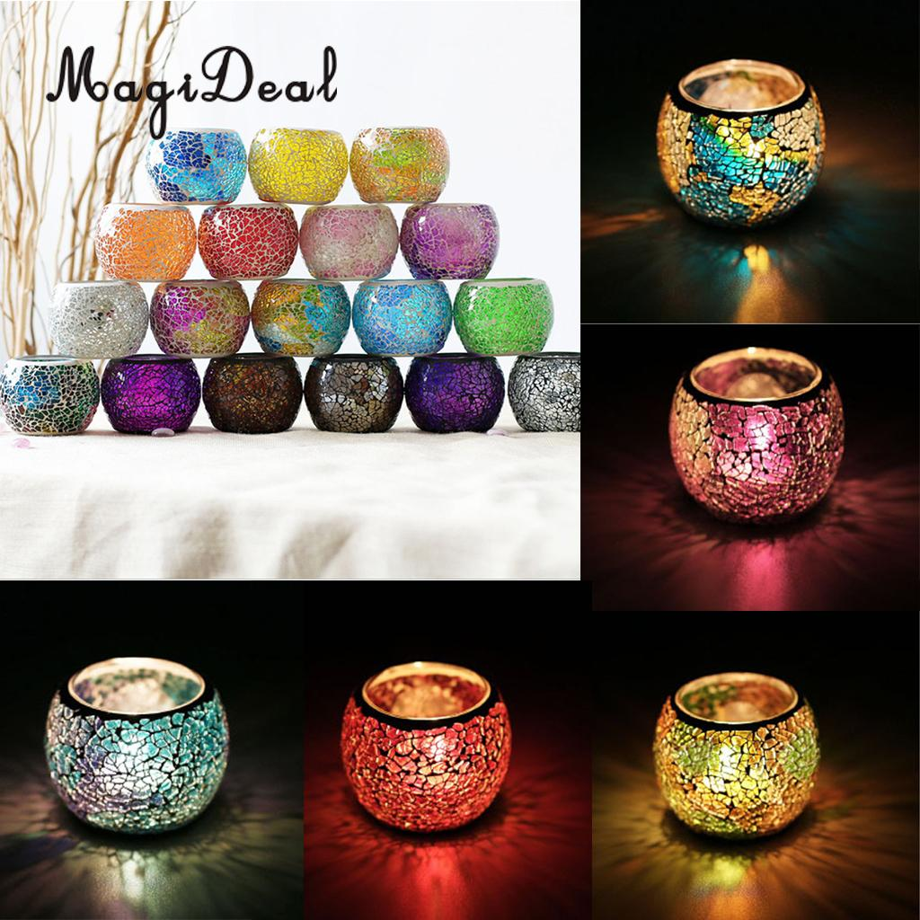 MagiDeal Assorted Moroccan Mosaic Glass Votive Candle Holder Tea Light Candelabra Candlestick Home Decor Tabletop Centerpiece - Smoulder Products
