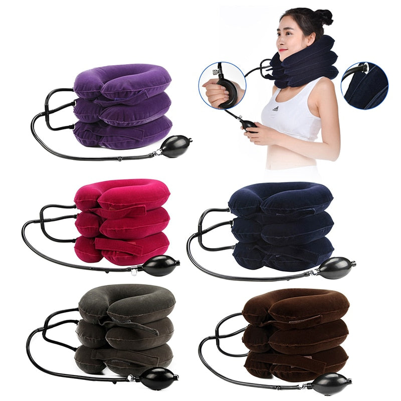 Inflatable Air Cervical Traction Device Medical Protector Vertebra Device Therapy Tool For Neck Stretcher Pillow Pain Relief - Smoulder Products