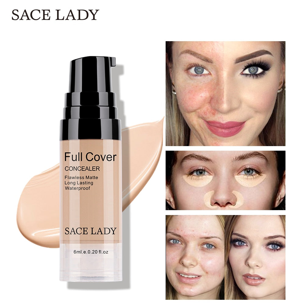 SACE LADY Full Cover 8 Colors Liquid Concealer Makeup 6ml Eye Dark Circles Cream Face Corrector Waterproof Make Up Base Cosmetic - Smoulder Products