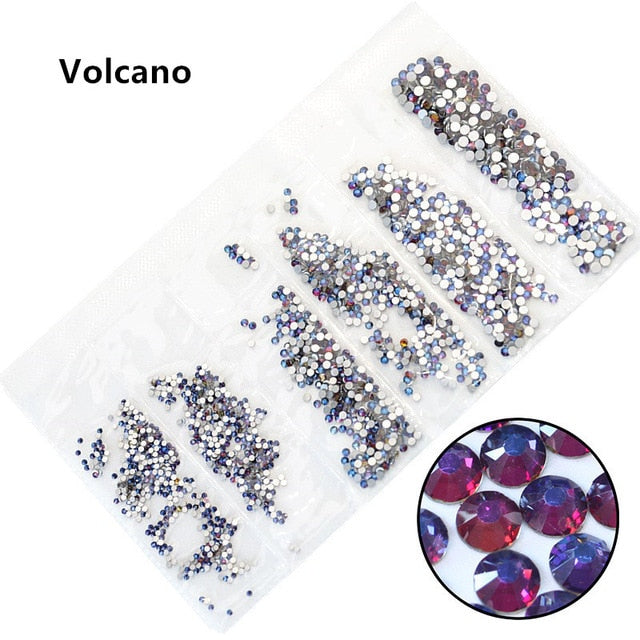 31 Colors SS3-SS10 Mix Sizes Crystal Glass Nails Art Rhinestones For 3D Nail Art Rhinestones Decoration Gems - Smoulder Products