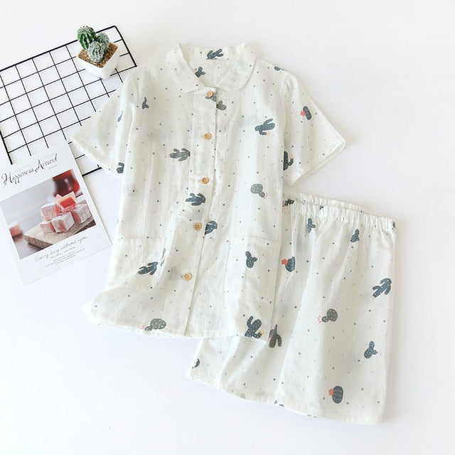 Japanese simple short pyjamas women 100% cotton short sleeves ladies pajama sets shorts Cute cartoon sleepwear women homewear - Smoulder Products