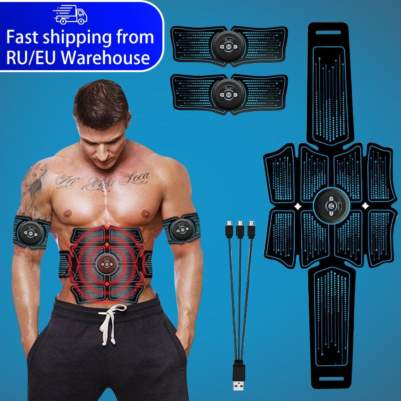 EMS Abdominal Muscle Stimulator Trainer USB Connect Abs Fitness Equipment Training Gear Muscles Electrostimulator Toner Massage - Smoulder Products