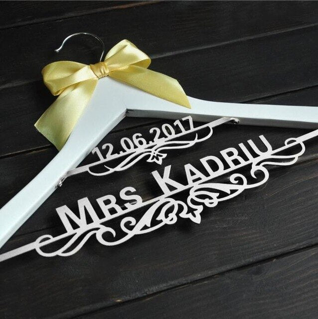 personalized Wedding Hanger with Date Bridal Bride Hanger  Custom dress hanger - Smoulder Products