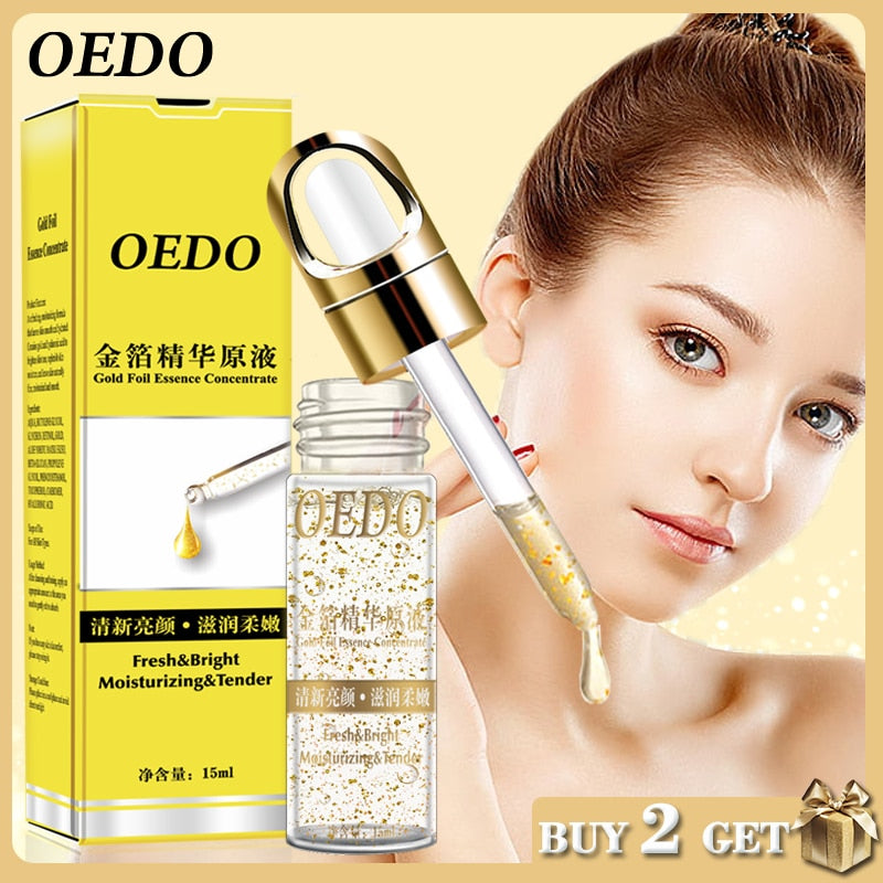 OEDO Shrink Pores Gold Hyaluronic Acid liquid Moisturizing Face Serum Whitening Plant Skin Care Anti Aging Anti Wrinkle Cream - Smoulder Products