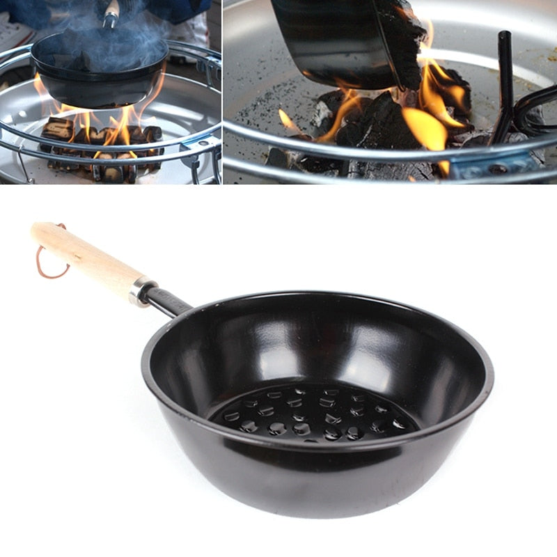 Chimney Charcoal Starter Pot Barbeque Safe Wood Handle BBQ Grill Tools Chimney Lighter Basket Canister For Grilling Coal - Smoulder Products