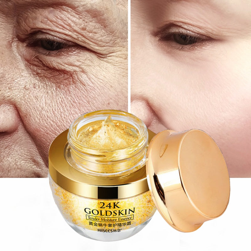 24K Gold Snial Face Cream For Dry Skin Care Anti Wrinkle Brightening Collagen Anti-Aging Whitening Moisturizing Creams Korean P - Smoulder Products