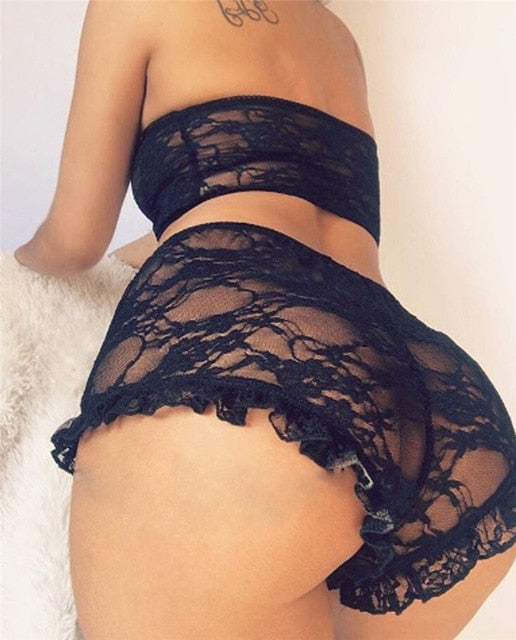 Porn Sexy Women Lace Tulle Lingerie Set Ruffle Sleepwear Babydoll Ladies Sexy Bandeau Underwear Nightwear Exotic Sets - Smoulder Products