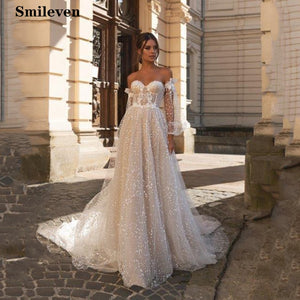 Smileven Boho Wedding Dress Puff Sleeve Sweetheart Neck Robe De Mariee Lace Bridal Dresses Wedding Dress For Girls - Smoulder Products