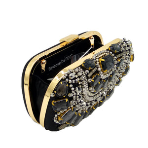 Famous Brand Women Handbags Black Crystal Evening Purse Metal Clutches Silver Beaded Bridal Wedding Box Clutch Bags Bolsos Mujer - Smoulder Products